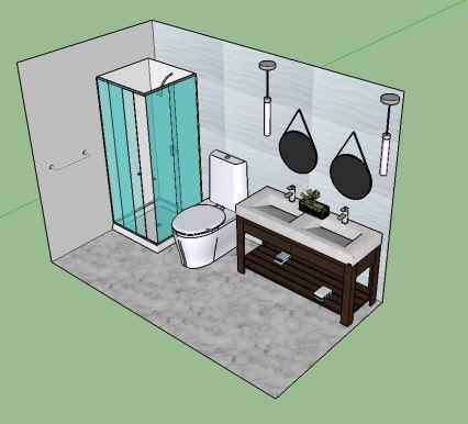 Double vanity modern bath IV