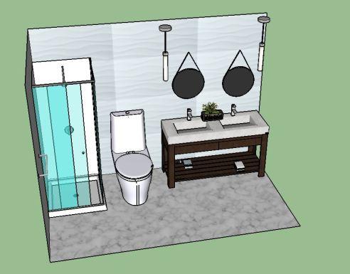 Double vanity modern bath
